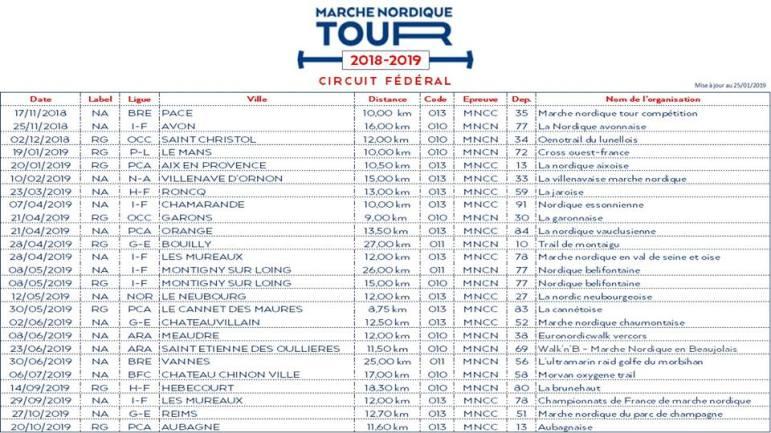 Calendrier Marche Nordique 2020.Calendrier Marche Nordique Tour 2018 2019 Culture Marche
